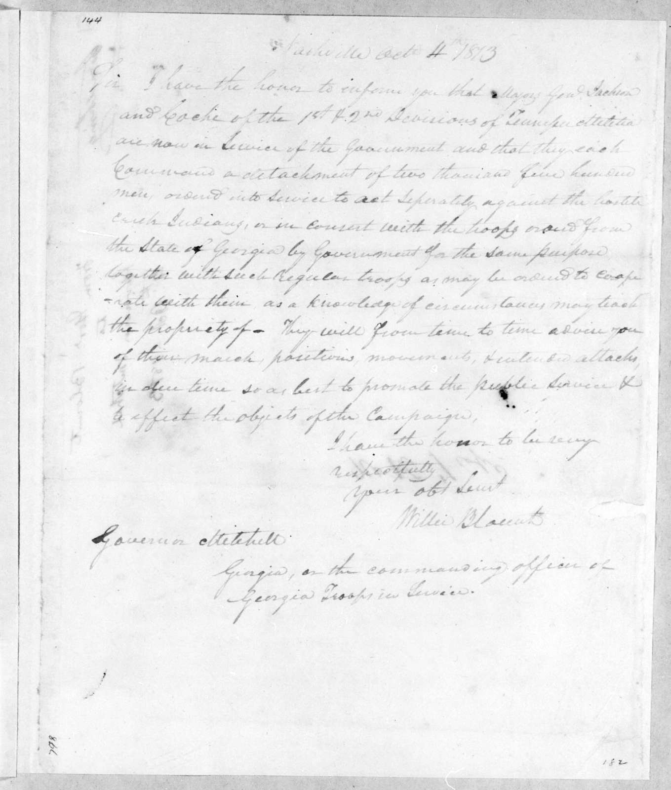 Willie Blount to John Cocke, October 4, 1813
