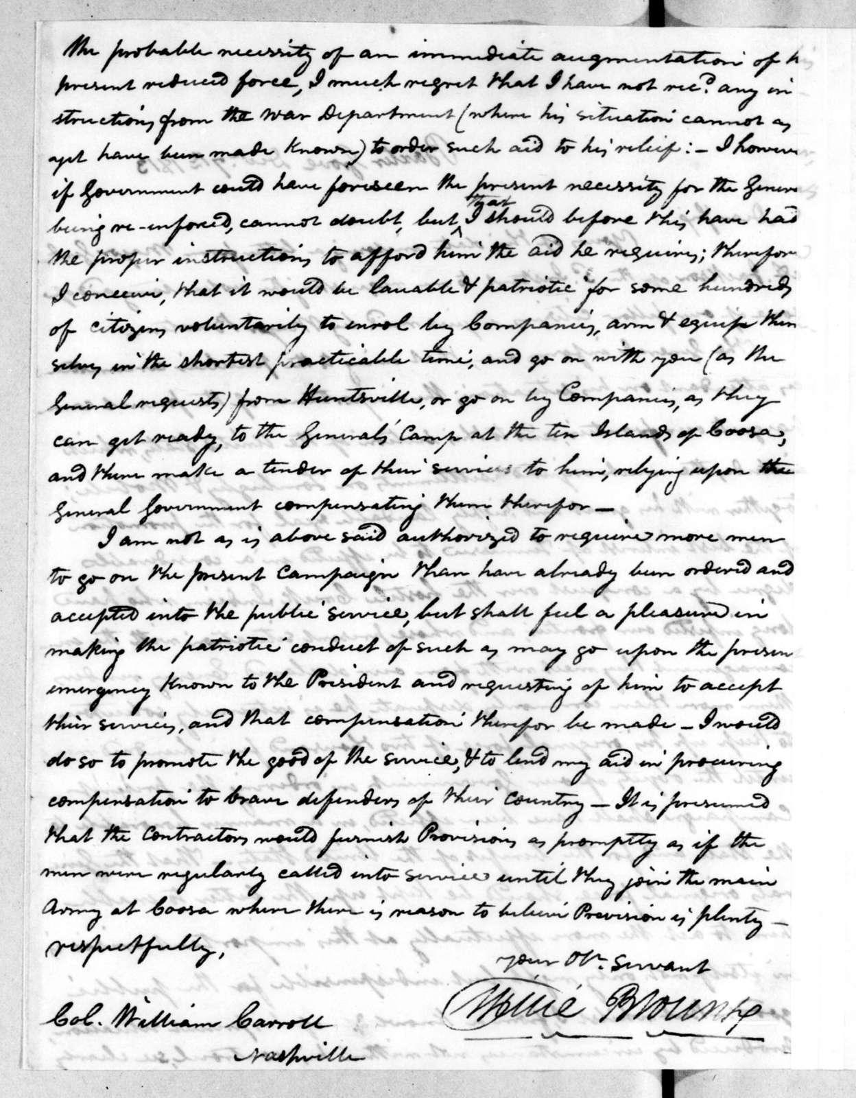 Willie Blount to William Carroll, December 7, 1813