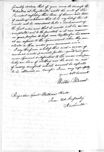 Willie Blount to William Hall, December 25, 1813