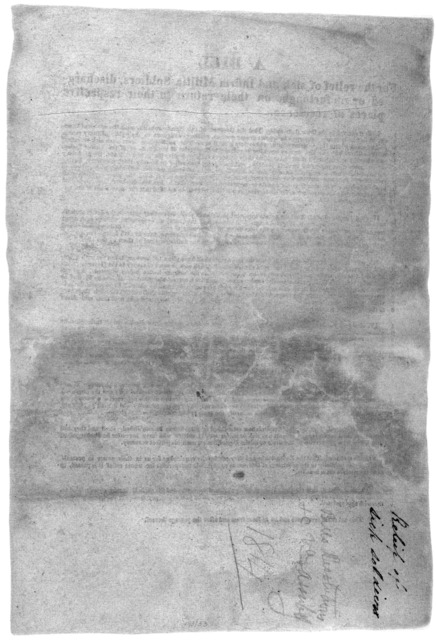 A bill for the relief of sick and infirm militia soldiers, discharged or on furlough, on their return to their respective places of residence. [Richmond, 1814].