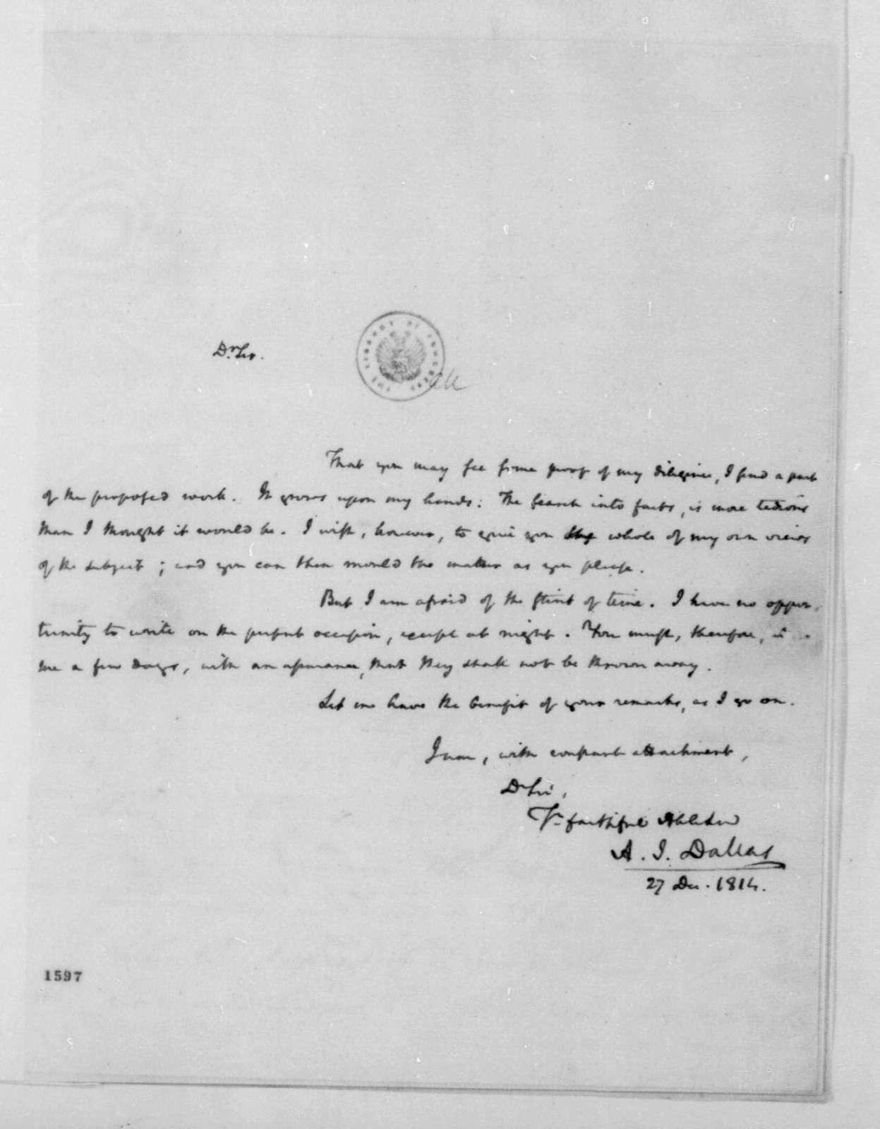 A. J. Dallas to James Madison, December 7, 1814.