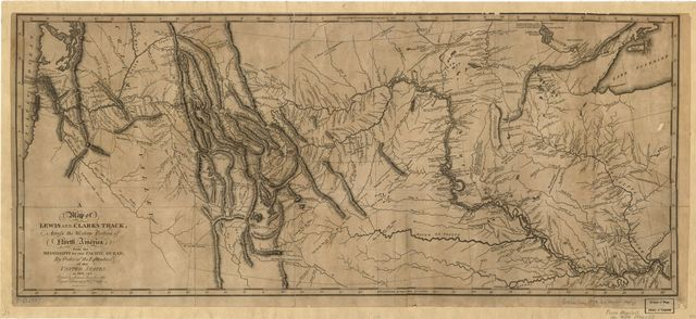 A map of Lewis and Clark's track, across the western portion of North America from the Mississippi to the Pacific Ocean : by order of the executive of the United States in 1804, 5 & 6 /