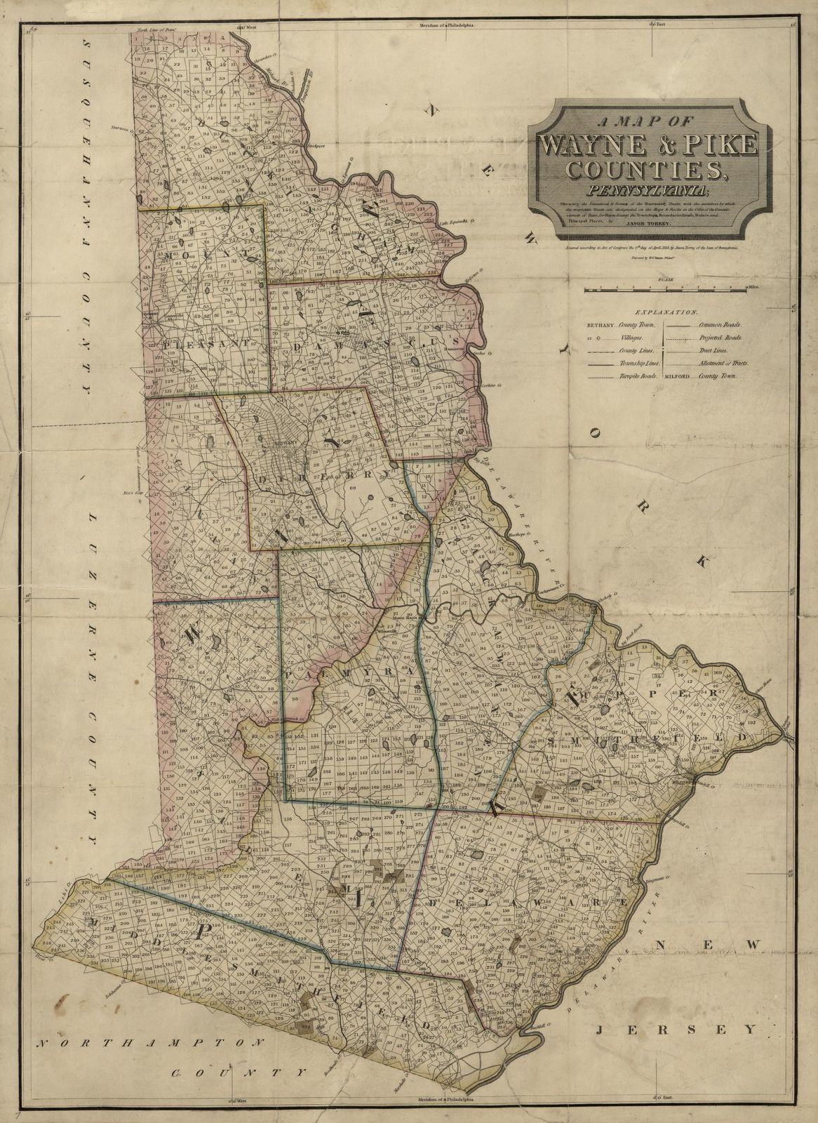 A map of Wayne & Pike counties, Pennsylvania  : shewing the situations & forms of the warrantee tracts, with the numbers by which the respective tracts are distinguished in the maps & books in the Office of the Commissioners of places for Wayne County, the townships, boundaries, roads, waters and principal places /