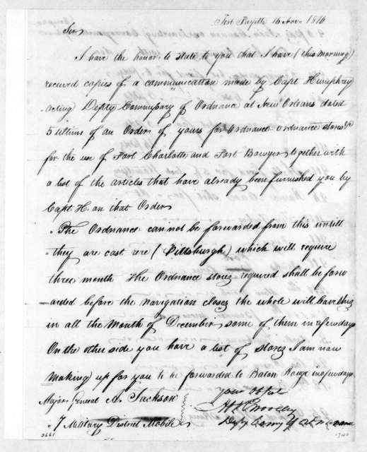 Abram R. Woolley to Andrew Jackson, November 16, 1814