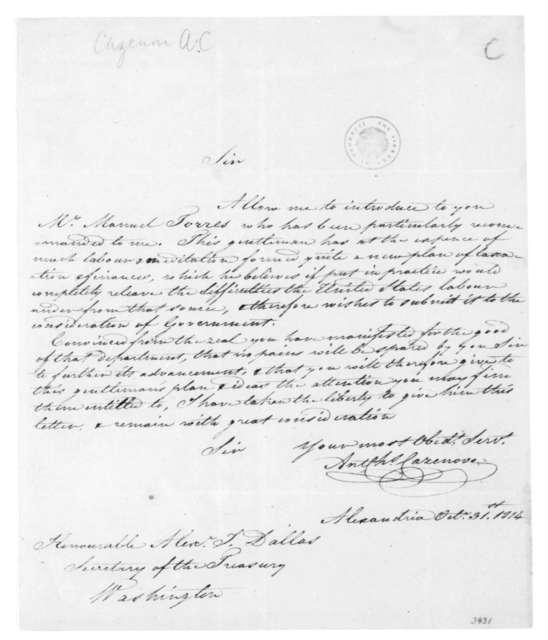 A.C. Cazenove to Alexander J. Dallas, October 31, 1814.