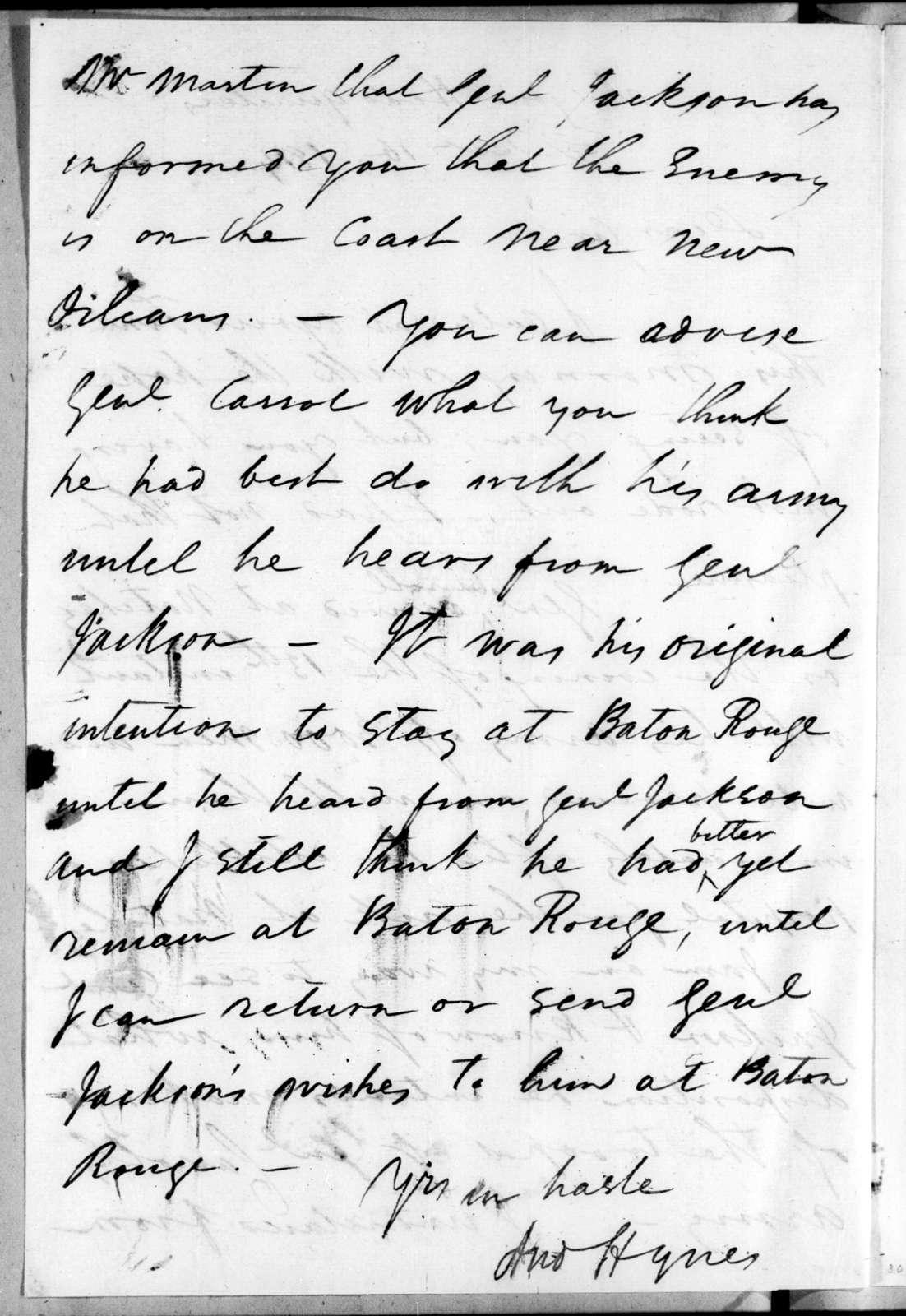 Andrew Hynes to John Coffee, December 16, 1814