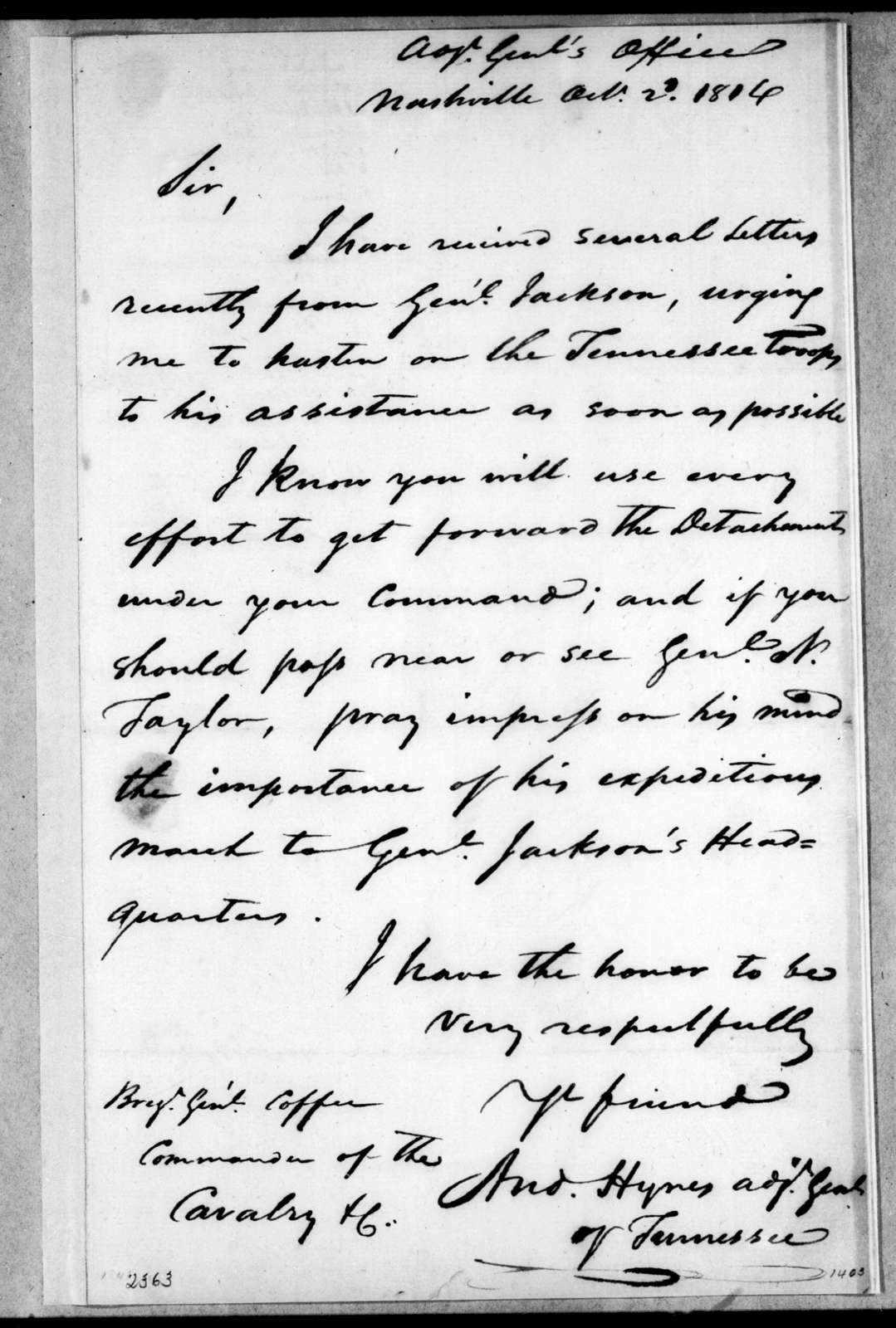 Andrew Hynes to John Coffee, October 2, 1814