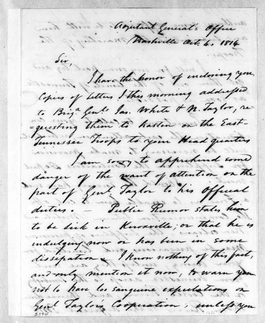 Andrew Hynes to Nathaniel Taylor, October 4, 1814