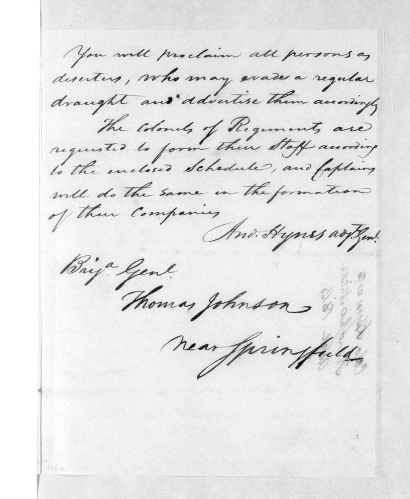 Andrew Hynes to Thomas Johnson, August 5, 1814