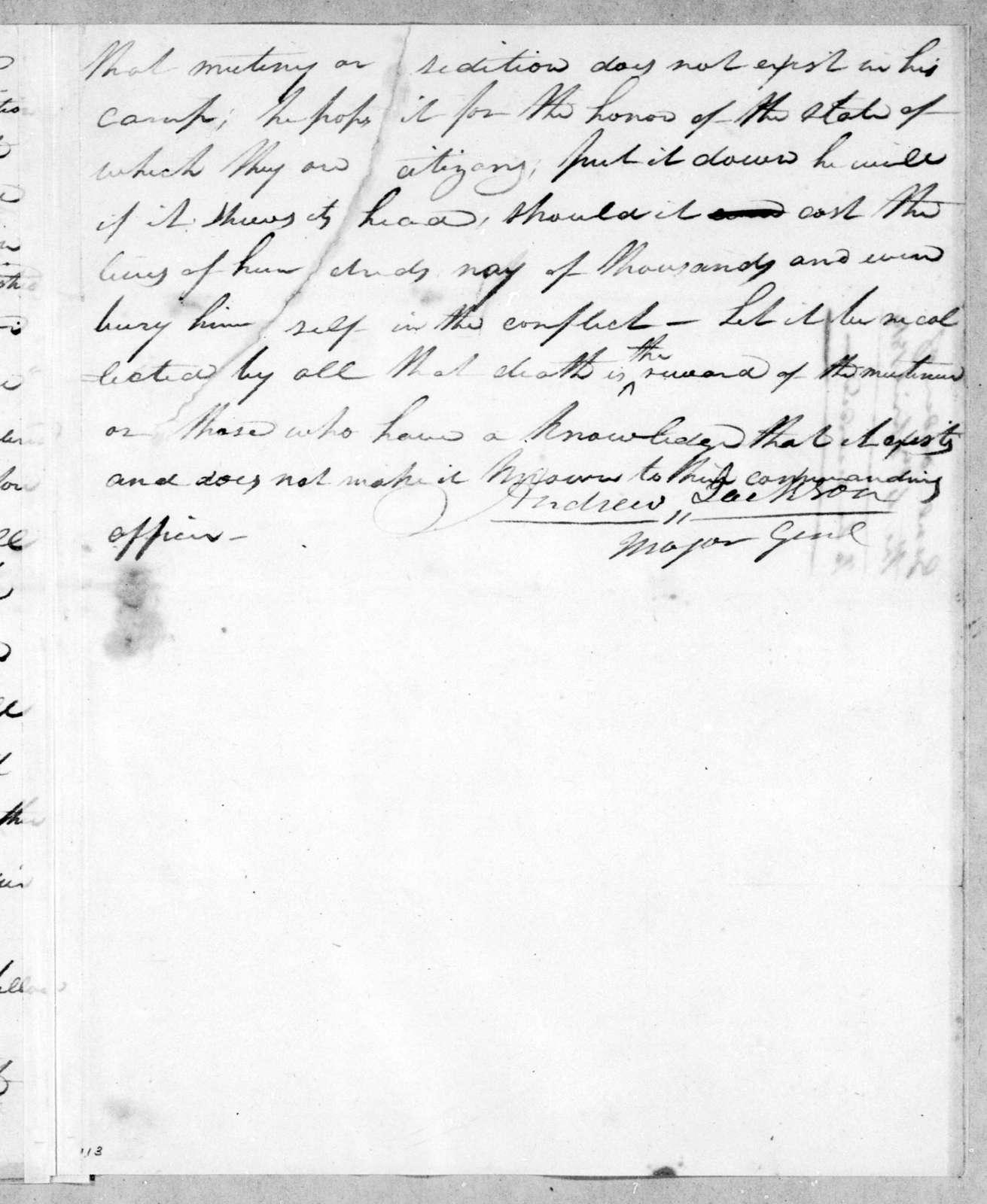 Andrew Jackson, April 4, 1814