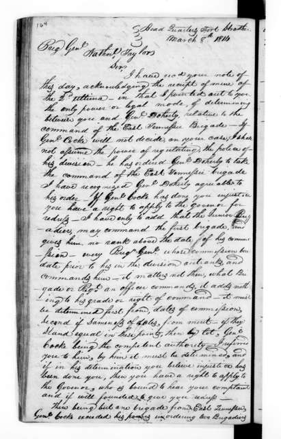 Andrew Jackson Letterbook, Vol. E - Letters and Orders, January 1814 - March 1814