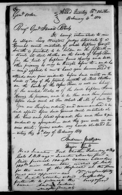 Andrew Jackson Letterbook, Vol. F - Letters and Orders, January 1814 - March 1814