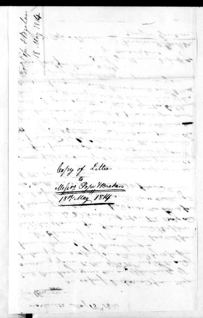 Andrew Jackson to Brahan & Pope, May 18, 1814