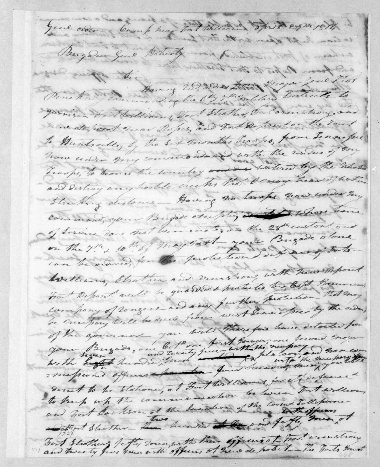 Andrew Jackson to George Doherty, April 24, 1814