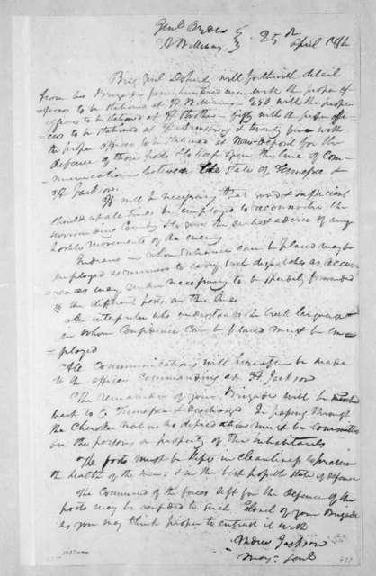 Andrew Jackson to George Doherty, April 25, 1814