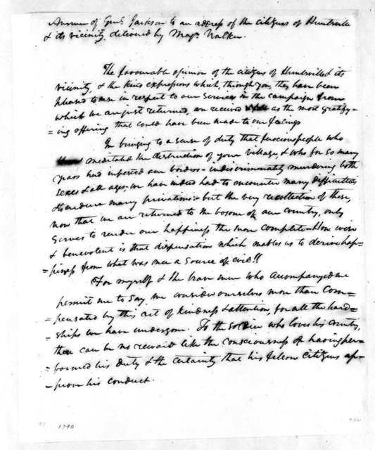Andrew Jackson to Huntsville Alabama Citizens, May 10, 1814