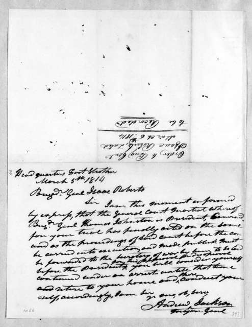 Andrew Jackson to Isaac Roberts, March 5, 1814