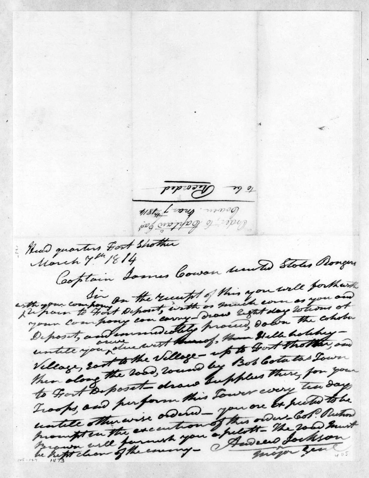 Andrew Jackson to James Cowan, March 7, 1814