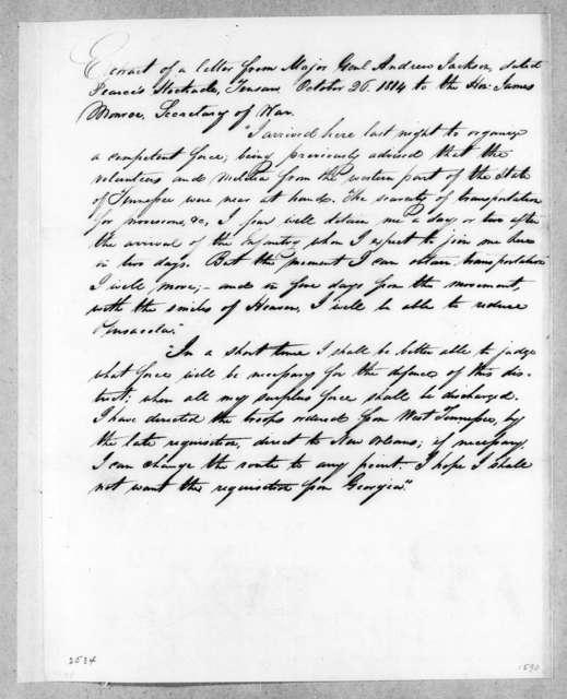 Andrew Jackson to James Monroe, October 26, 1814