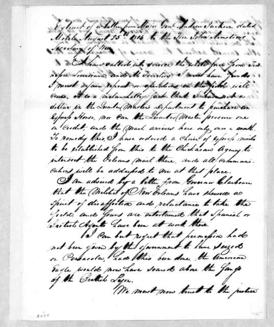 Andrew Jackson to John Armstrong, August 25, 1814