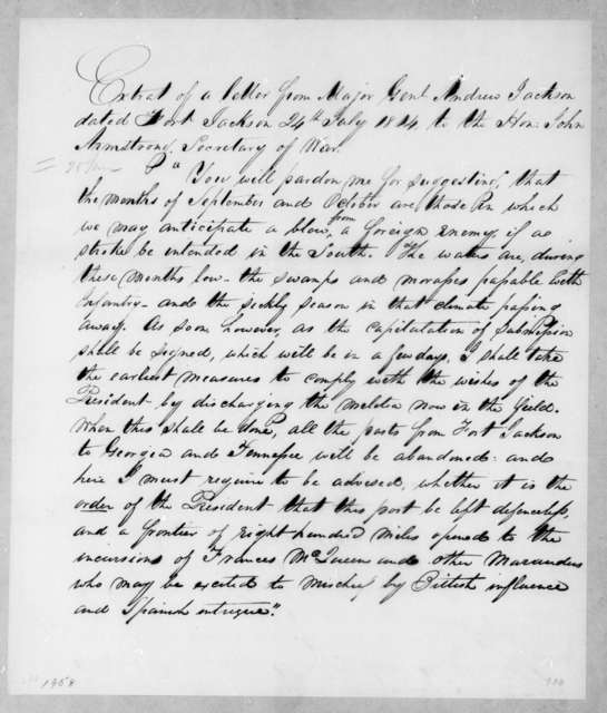 Andrew Jackson to John Armstrong, July 24, 1814