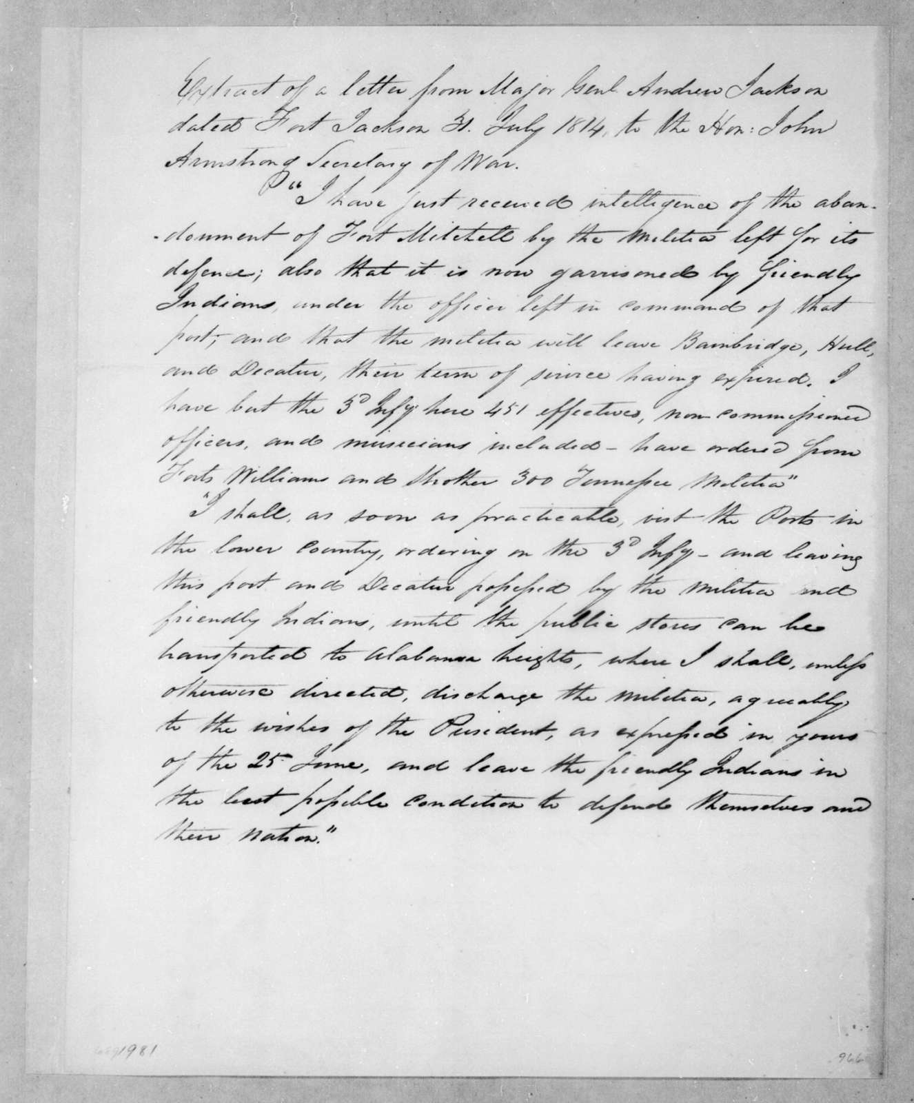 Andrew Jackson to John Armstrong, July 31, 1814