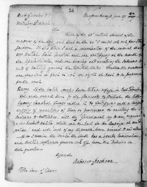 Andrew Jackson to John Armstrong, June 27, 1814. Copy.