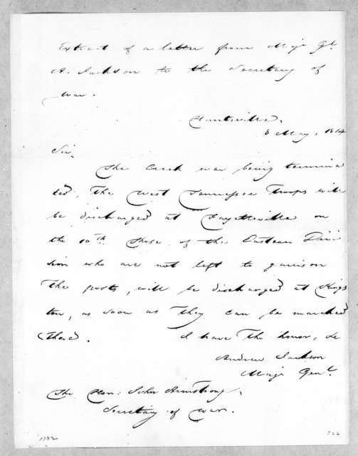 Andrew Jackson to John Armstrong, May 8, 1814