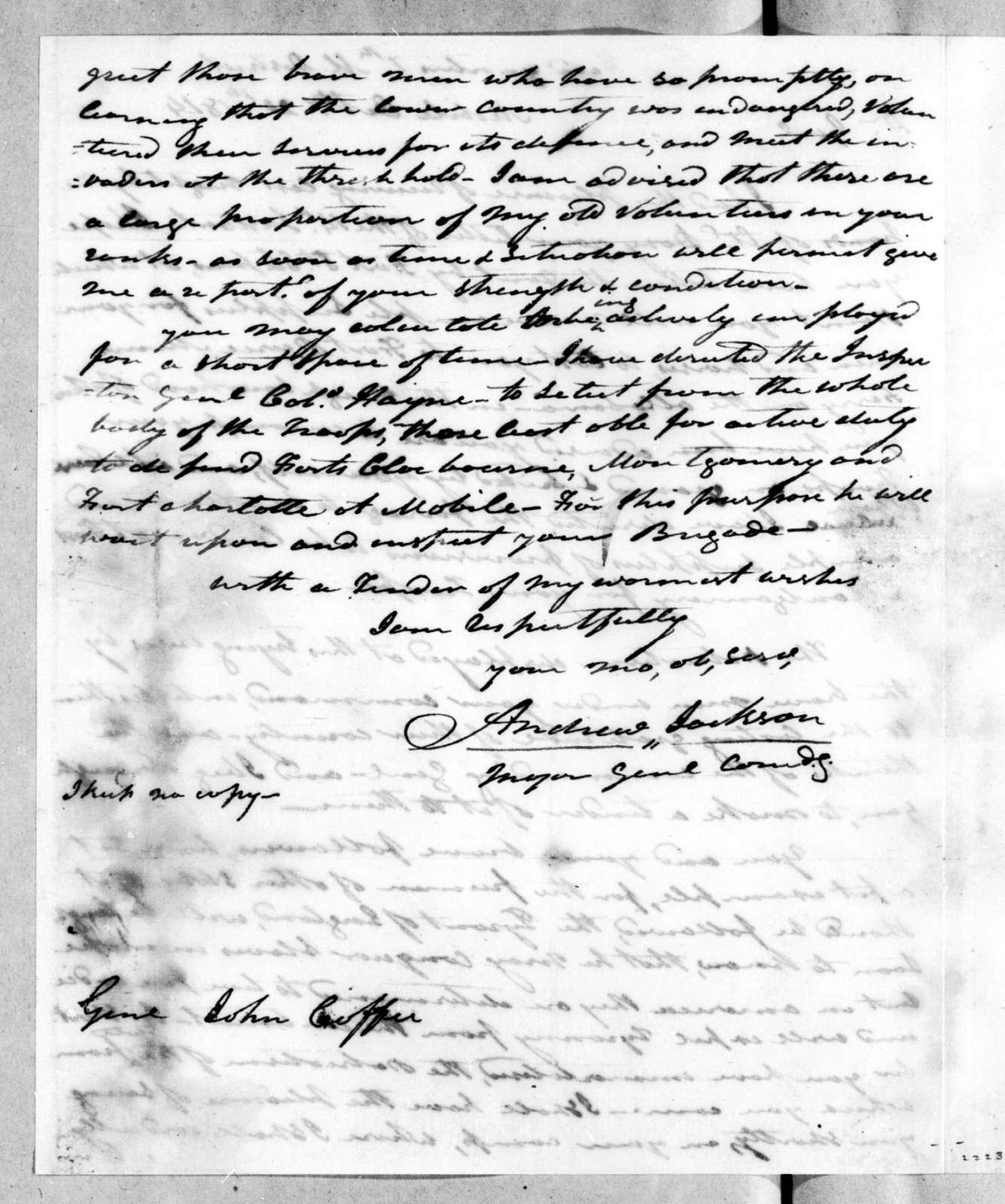 Andrew Jackson to John Coffee, October 20, 1814