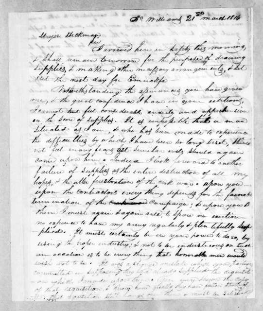 Andrew Jackson to John Pryor Hickman, March 21, 1814