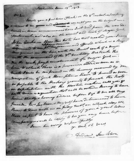 Andrew Jackson to John Reid, June 13, 1814