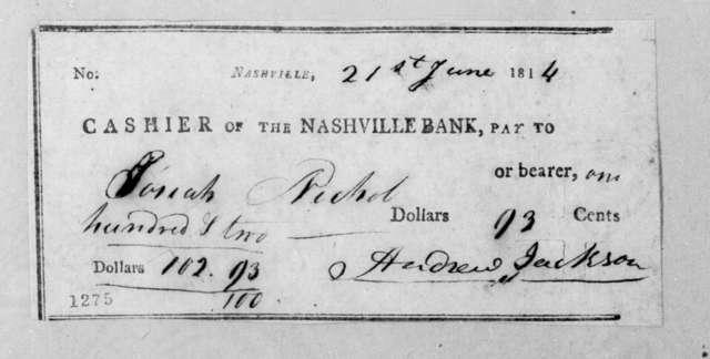 Andrew Jackson to Josiah Nichol, June 21, 1814