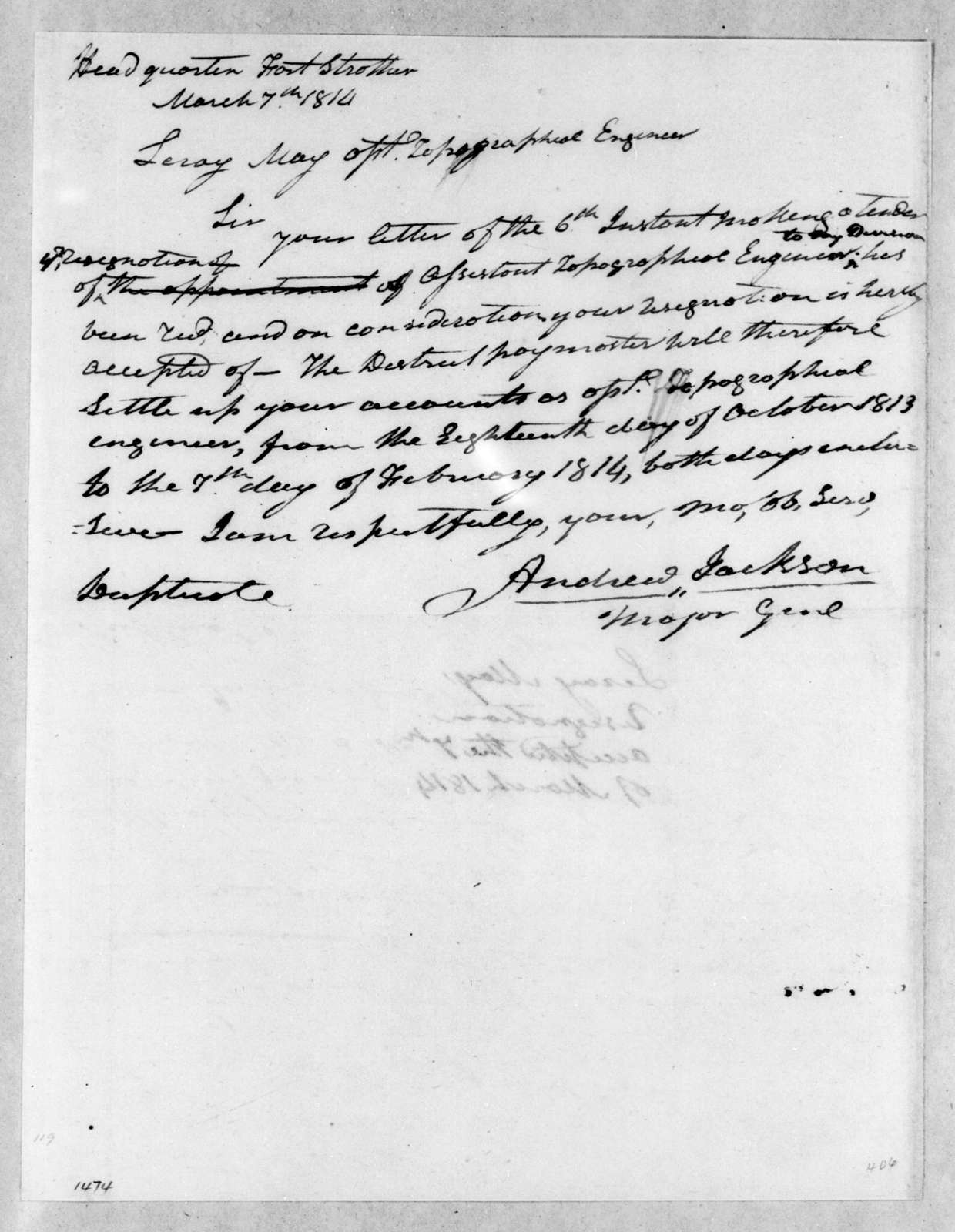 Andrew Jackson to Leroy May, March 7, 1814
