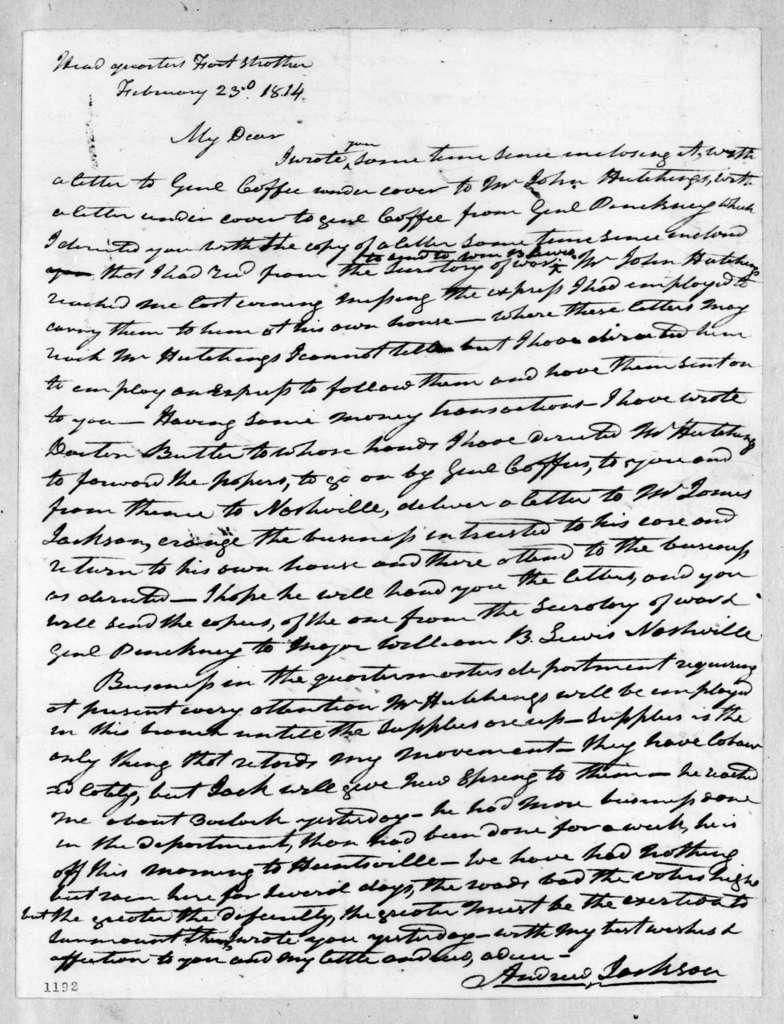 Andrew Jackson to Rachel Donelson Jackson, February 23, 1814