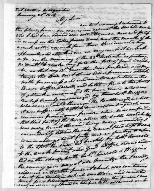 Andrew Jackson to Rachel Donelson Jackson, January 28, 1814