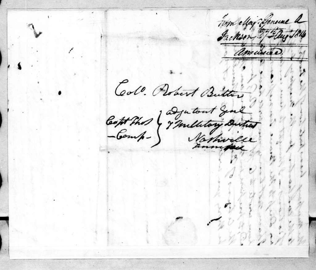 Andrew Jackson to Robert Butler, August 27, 1814