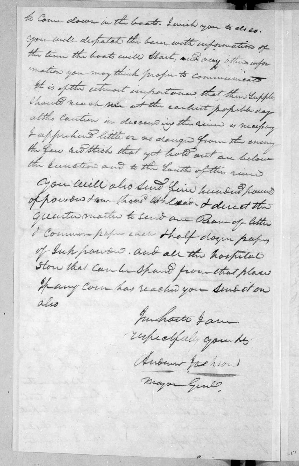 Andrew Jackson to Thomas Johnson, April 14, 1814