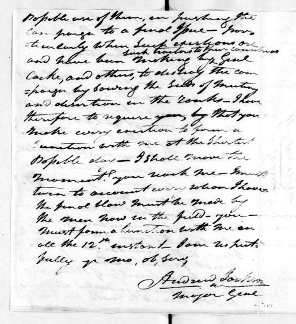 Andrew Jackson to Thomas Johnson, March 10, 1814