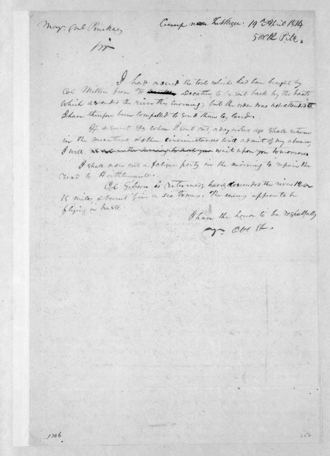 Andrew Jackson to Thomas Pinckney, April 19, 1814