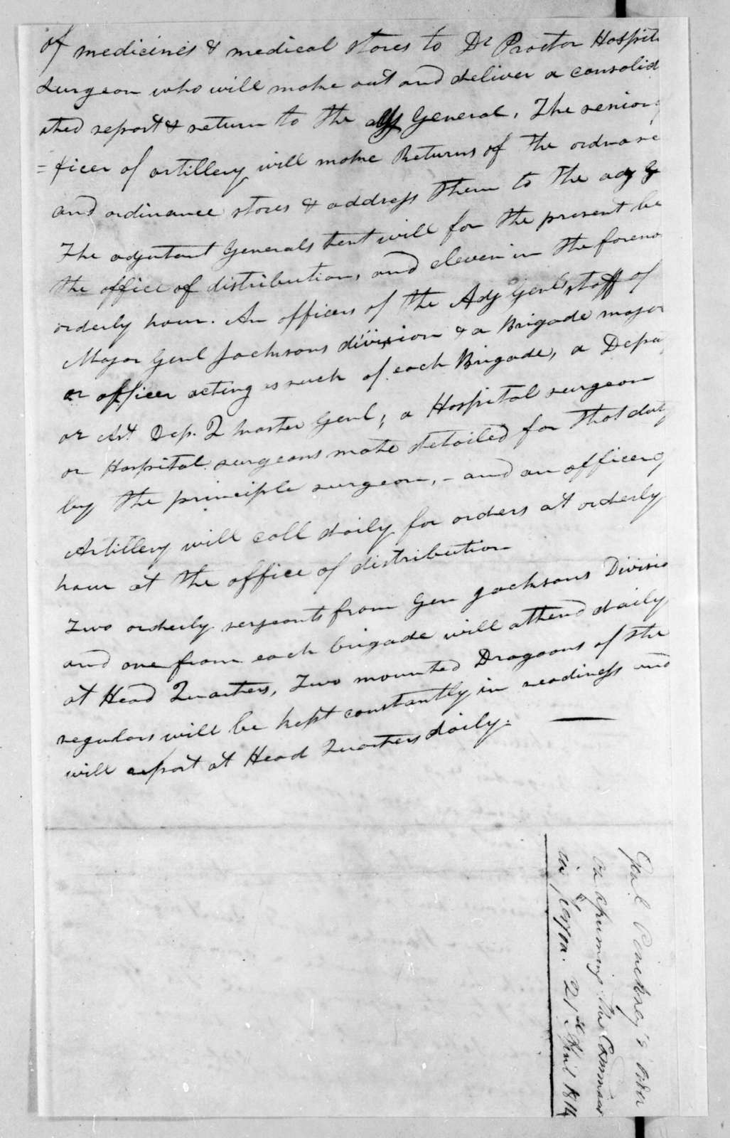 Andrew Jackson to Thomas Pinckney, April 21, 1814