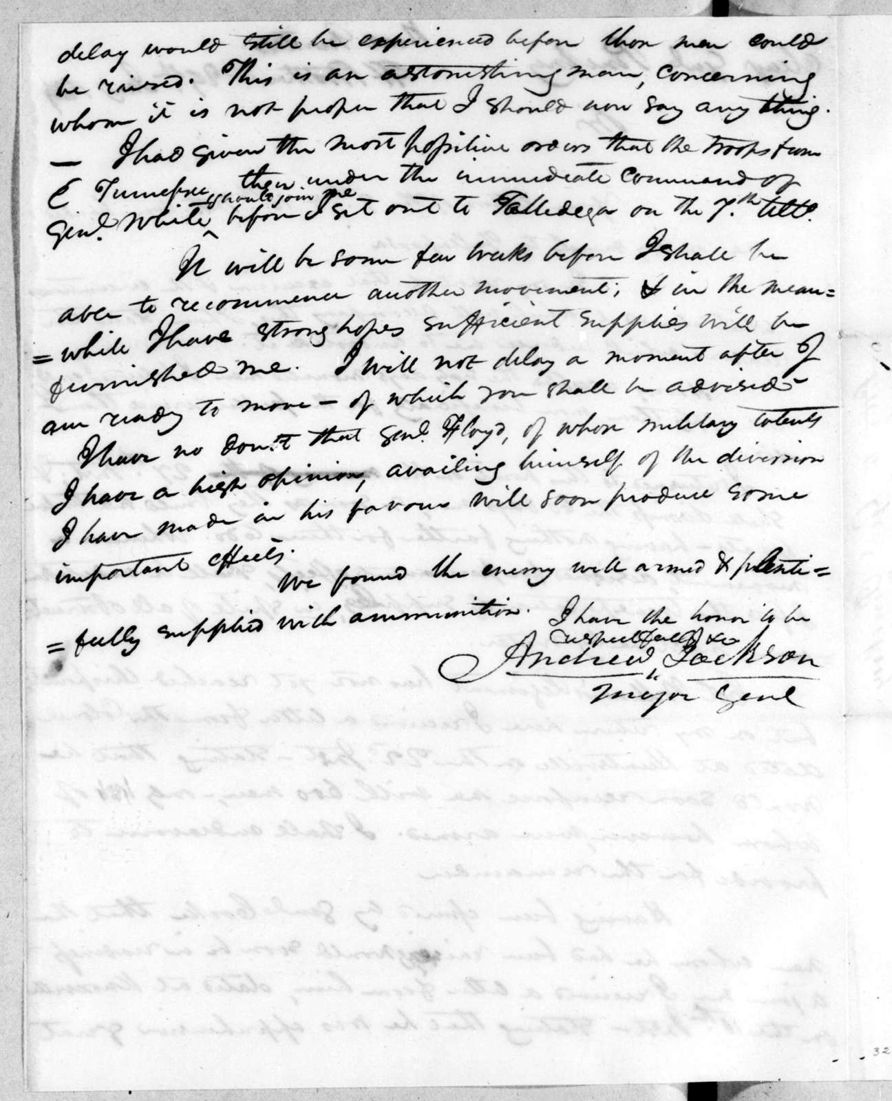 Andrew Jackson to Thomas Pinckney, January 29, 1814