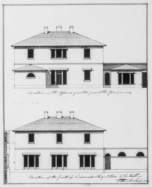 """[Armory (""""U.S. Arsenal""""), Pittsburgh, Pennsylvania. Officer's and Commandants quarters, elevations]"""