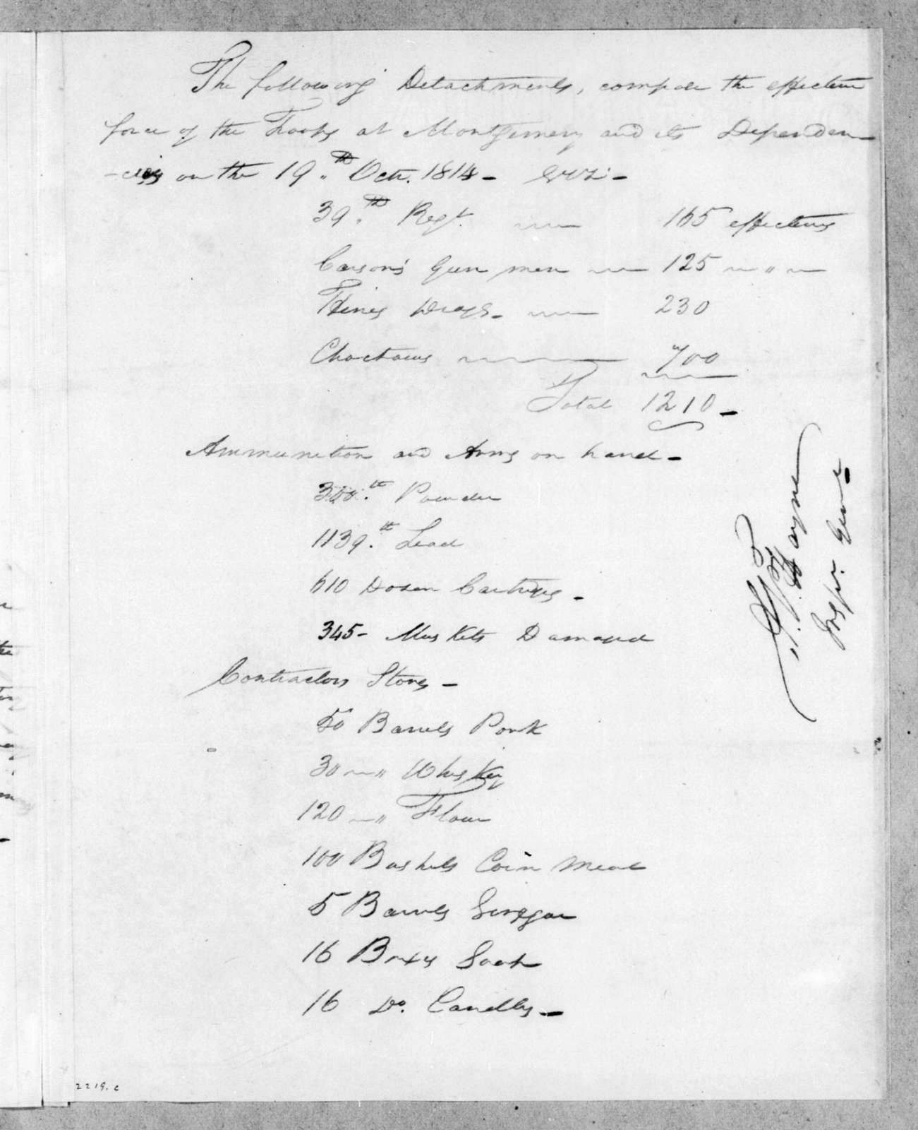Arthur Peronneau Hayne to John Coffee, October 19, 1814