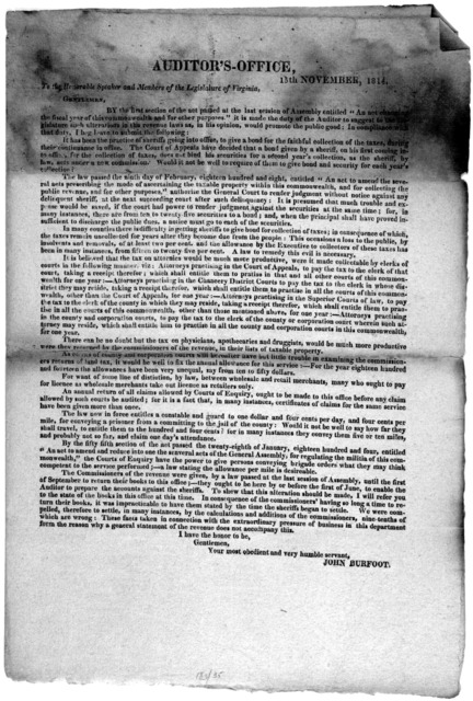 """Auditor's-office 15th November, 1814. To the Honorable Speaker and members of the Legislature of Virginia. Gentlemen. By the first section of the act passed at the last session of Assembly entitled """"An act changing the fiscal year of this common"""
