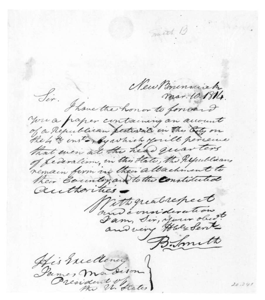 B. Smith to James Madison, March 10, 1814.