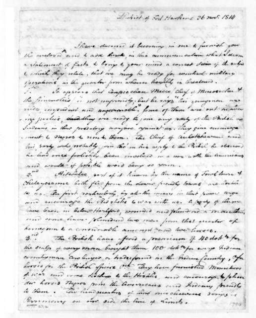 Benjamin Hawkins to William McIntosh, November 26, 1814