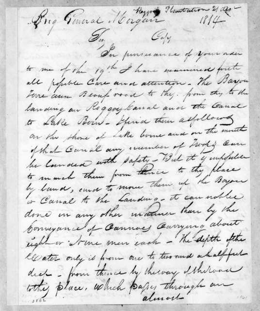 Benjamin M. Stokes to David Bannister Morgan, December 21, 1814