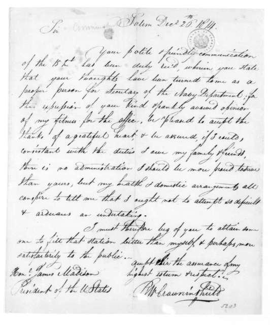 Benjamin W. Crowninshield to James Madison, December 26, 1814.
