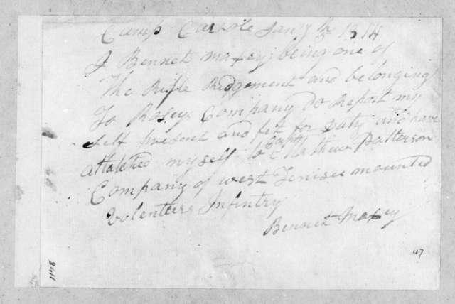 Bennet Maxsy, January 5, 1814