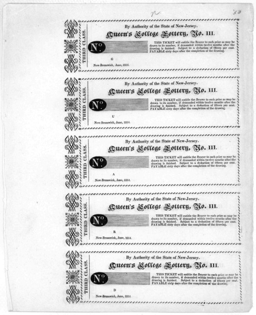 By authority of the State of New-Jersey. Queen's College lottery, No. III [blank ticket] New-Brunswick, June, 1814.